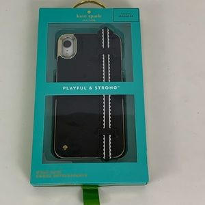 Kate Spade Black & Gold Strap iPhone XR Case NWB